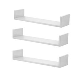 Conjunto 03 Prateleiras Decorativas de 80cm em MDF Branco com Borda Protetora