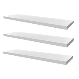 Conjunto 03 Prateleiras Decorativas de 80cm em MDF Branco para Decoração e Utilidades