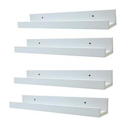 Conjunto 04 Prateleiras Decorativas de 80cm em MDF Branco com Borda Protetora