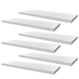 Conjunto 06 Prateleiras Decorativas de 60cm em MDF Branco para Decoração e Utilidades