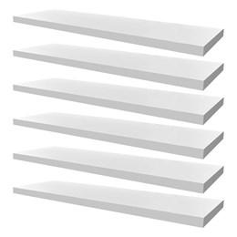 Conjunto 06 Prateleiras Decorativas de 80cm em MDF Branco para Decoração e Utilidades