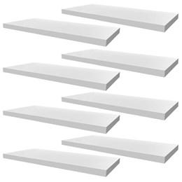 Conjunto 08 Prateleiras Decorativas de 50cm em MDF Branco para Decoração e Utilidades