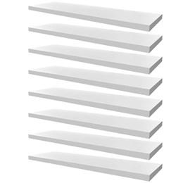 Conjunto 08 Prateleiras Decorativas de 80cm em MDF Branco para Decoração e Utilidades