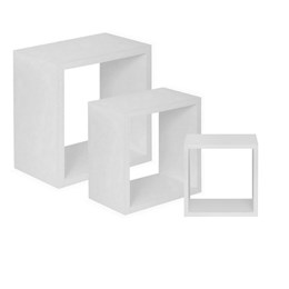 Conjunto 3 Nichos Decorativos para Quarto e Sala em MDF 15mm Branco