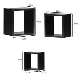 Conjunto 3 Nichos Decorativos para Quarto e Sala em MDF 15mm Preto