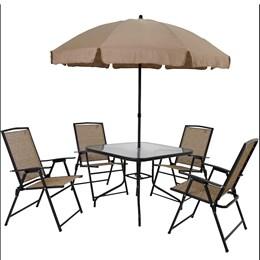 Conjunto com Mesa, 4 Cadeiras e Guarda-Sol MOR Acapulco 009010