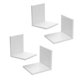 Conjunto Decorativo de Parede com 04 Nichos em MDF 15 Milímetros Branco