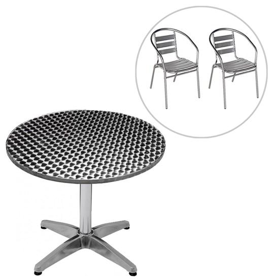 Conjunto Mesa Redonda com 2 Cadeiras em Alumínio para Jardim MOR