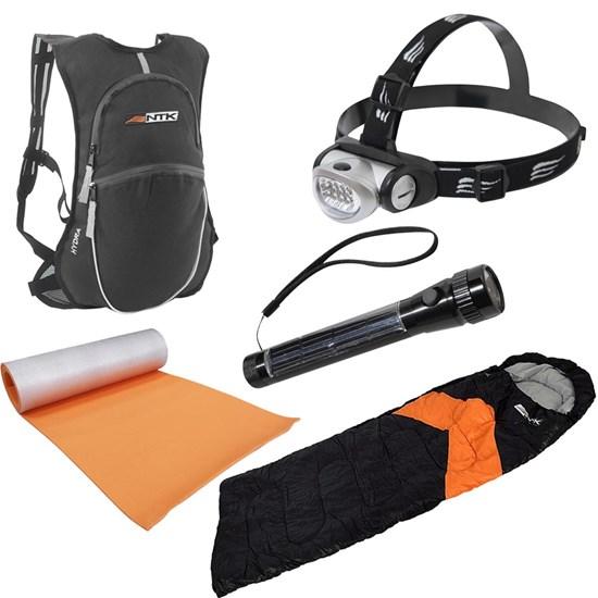 Conjunto Saco de Dormir, Isolante Térmico, Lanternas e Mochila de Hidratação para Camping