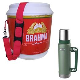 Cooler Térmico 20L Brahma Brasil 12 Latas + Garrafa Térmica Stanley 1,3L Green