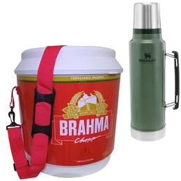 Cooler Térmico Brahma 20L 12 Latas + Garrafa Térmica 1L STANLEY Classic Verde