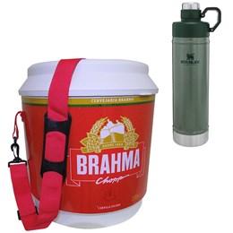 Cooler Térmico Brahma 20L 12 Latas + Garrafa Térmica Stanley 750ml Classic Verde