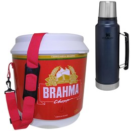 Cooler Térmico Brahma 20L 12 Latas + Garrafa Térmica Stanley Classic 1L Azul