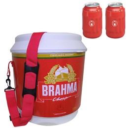 Cooler Térmico Brahma 20L com Alça + 2 Porta Latas Térmico 350ml Vermelho