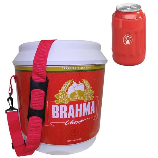 Cooler Térmico Brahma 20L com Alça + Porta Latas Térmico Flexivel 350ml Vermelho