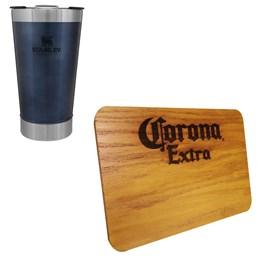 Copo Térmico Stanley 473ml com Tampa + Tábua de Madeira 24,5 x 17,5 Corona Extra