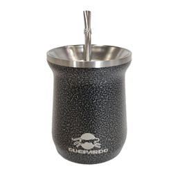 Cuia Térmica Guepardo Select Preta 230ml Aço Inox até 3 Horas Gelado + Bomba para Chimarrão