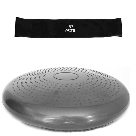Disco de Equilíbrio Inflável 35cm + Bomba de Ar + Mini Band Extra Forte Acte