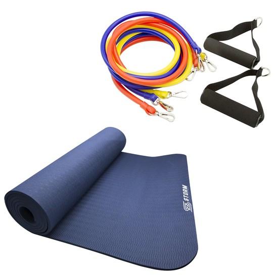 Elástico Extensor 3 Níveis ZStorm + Tapete Colchonete Pilates Yoga Mat TPE Azul