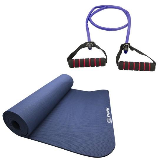 Elástico Extensor Tensão Forte ZStorm Via Roxo + Tapete Colchonete Yoga Mat TPE