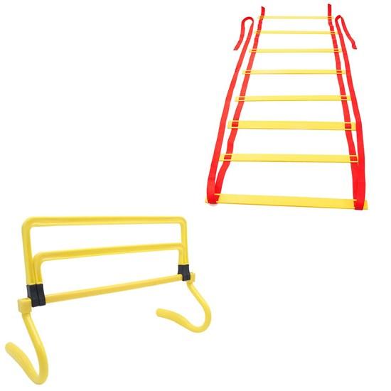 Escada Agilidade 16 Degraus 8m + Mini Barreira ZStorm Ajustável 3 Níveis Amarelo