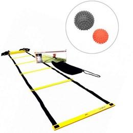 Escada de Agilidade com Regulagem 4 Metros + 2 Bolas Massageadoras Cravos - LIVEUP