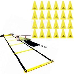 Escada de Agilidade com Regulagem 4 Metros + Cones de Agilidade 18cm 24 Unidades - LIVEUP