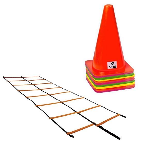 Escada de Agilidade Dupla 8 Degraus + 10 Cones - ACTE