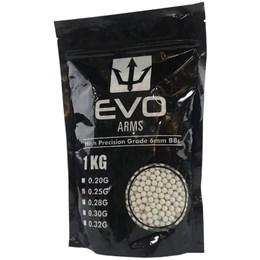 Esfera Plástica BBs Airsoft Evo Arms 0,25g 4000 Unidades Branco