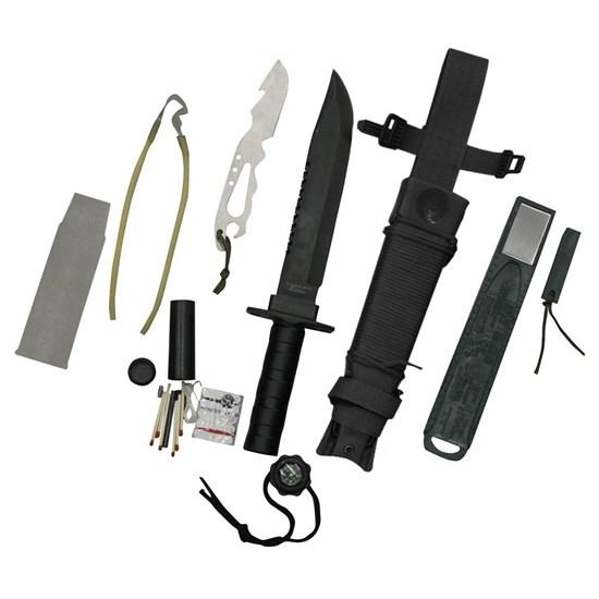 Faca Platoon com Kit de Sobrevivência, Caça e Pesca - Nautika 321161-Preto