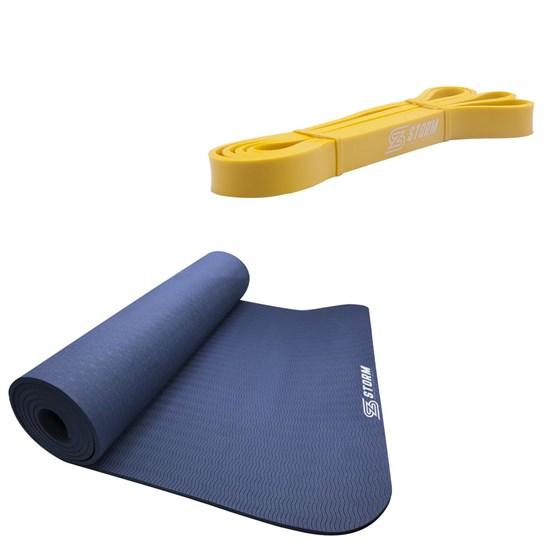 Faixa Elástica Super Band Tensão Leve + Tapete Colchonete ZStorm Yoga Mat Azul