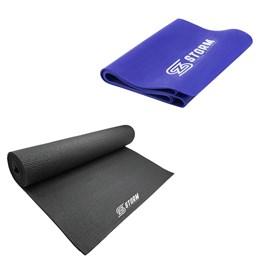 Faixa Elástica Tensão Forte Azul + Tapete Colchonete Pilates Zstorm Preto