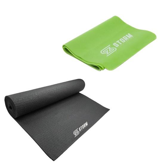 Faixa Elástica Tensão Média Verde + Tapete Colchonete de Yoga e Pilates ZStorm