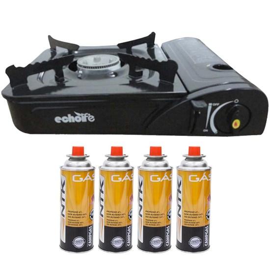 Fogareiro Double EchoLife + Cartucho de Gás CAMPGÁS 4 unidades Nautika