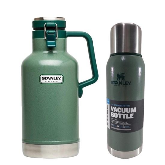 Garrafa Growler Térmico 1,9L Verde + Garrafa Térmica Stanley 1 Litro Adventure