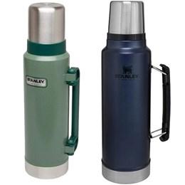 Garrafa Térmica 1L Aço Inox Azul + Garrafa Térmica Stanley 1,3L Hammertone Green