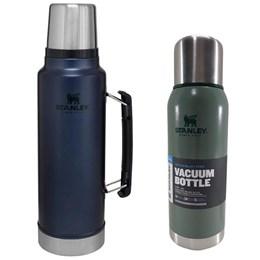 Garrafa Térmica 1L em Aço Inox Azul + Garrafa Térmica Stanley Adventure 1L Verde