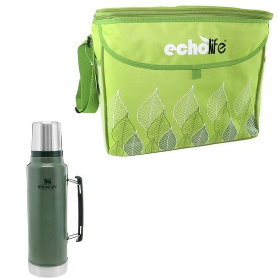 Garrafa Térmica 1L Stanley Hammertone Verde + Bolsa Térmica Green 31L EchoLife