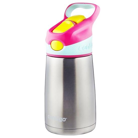 Garrafa Térmica Infantil 295 ml Contigo Striker Chill Rosa com Bico e Canudo Retrátil