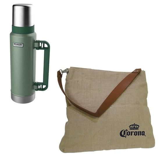 Garrafa Térmica Stanley 1,3 Litros Hammertone Green + Bolsa Corona Bag Multiuso