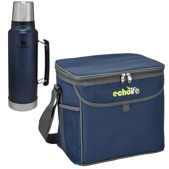 Garrafa Térmica Stanley 1L Aço Inox Azul + Bolsa Térmica 9 Litros Blue Echolife