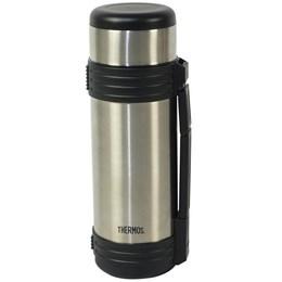 Garrafa Térmica Thermos K2 24 Horas Quente e Frio 1 Litro Prata Com Alça
