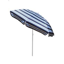 Guarda Sol Articulado Rotony 2,20m em Alumínio Listrado Azul Escuro e Azul Claro