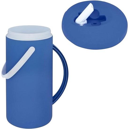 Jarra Térmica Nativa 2,5 Litros Azul com Alça e Bico Flip - MOR