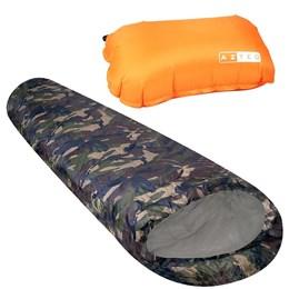 Kit 1 Saco de Dormir Nautika Milik + 1 Travesseiro Inflável para Camping