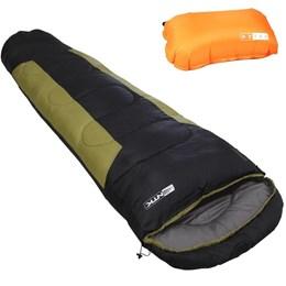 Kit 1 Saco de Dormir Nautika Mummy Verde e Preto + 1 Travesseiro Inflável para Camping