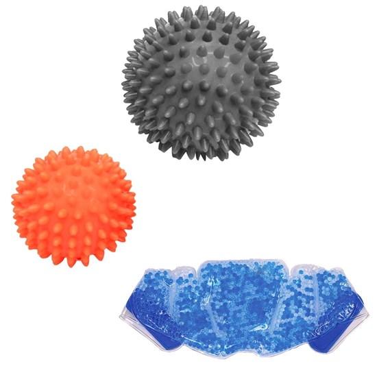 Kit 2 Bolas Massageadores com Cravos Liveup + Bolsa Térmica Contusão Relaxmedic
