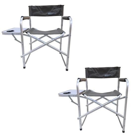 Kit 2 Cadeiras Dobráveis Diretor com Mesinha Lateral e Porta Copo Nautika