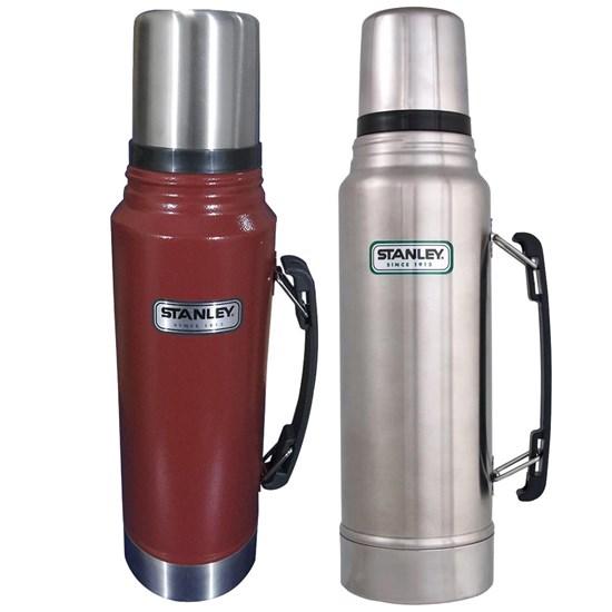Kit 2 Garrafas Térmicas Stanley Classic 1L até 24 Horas Gelado Inox e Vermelho