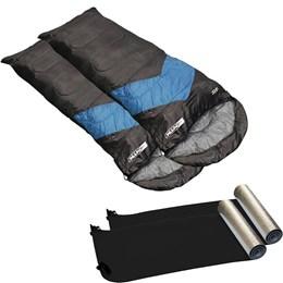 Kit 2 Sacos de Dormir Azul e Preto Viper + 2 Isolantes Térmicos em E.V.A Aluminizado Nautika